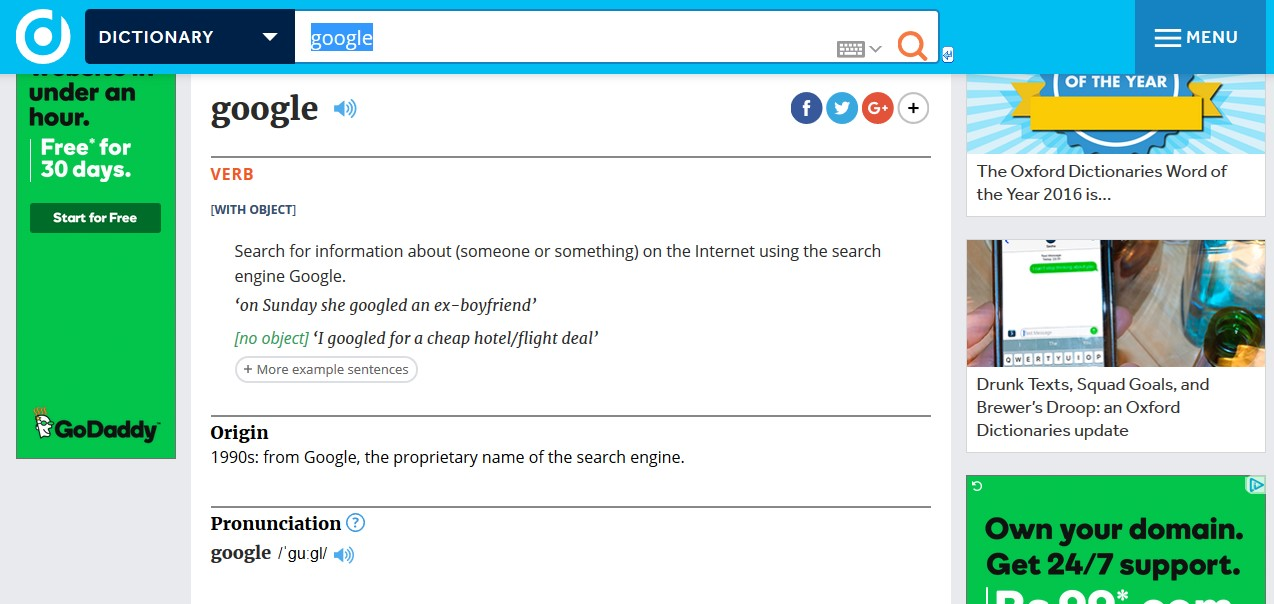 The Oxford Dictionary has added Google