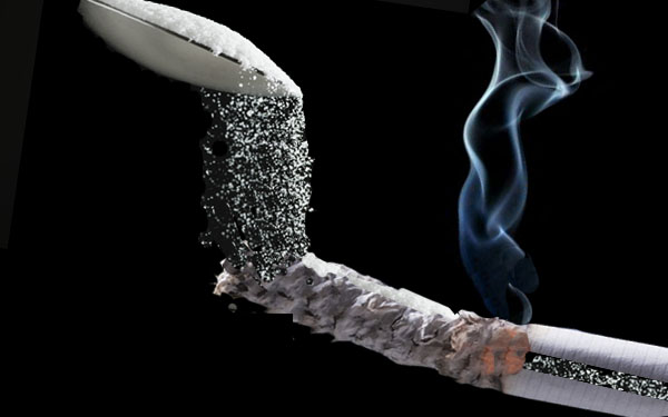 There is 20% of sugar in a cigarette, which leads to diabetes