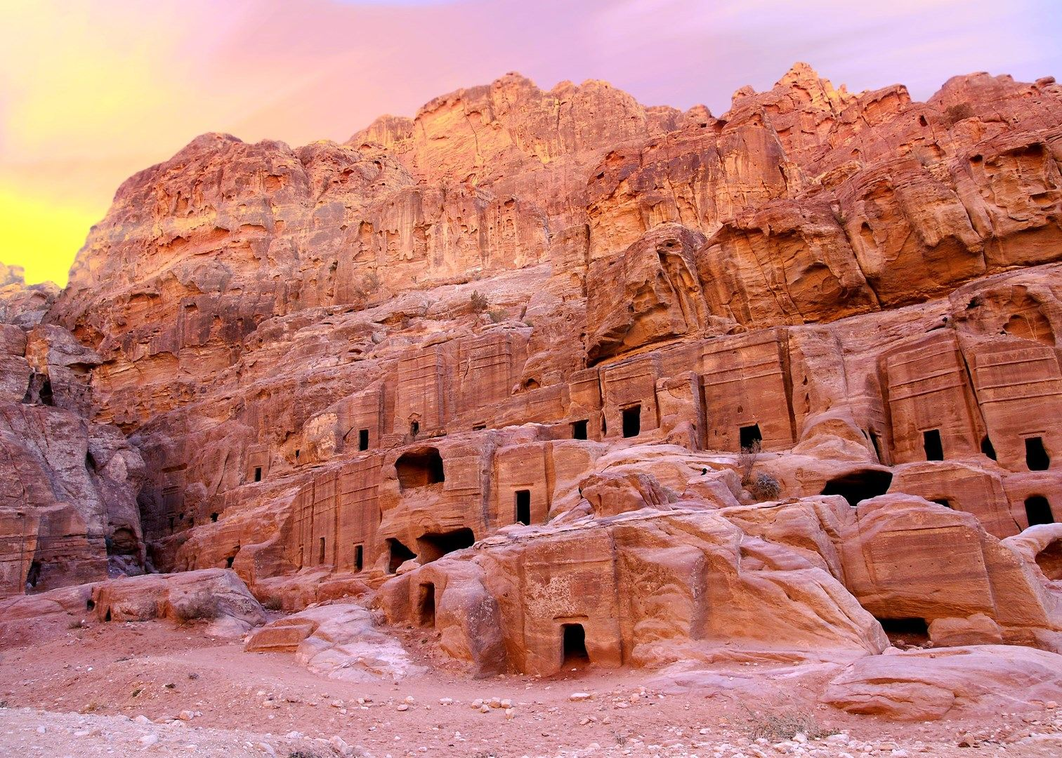 Sometimes Petra is called 'Rose City'due to Rose-Red colored sandstone hills.
