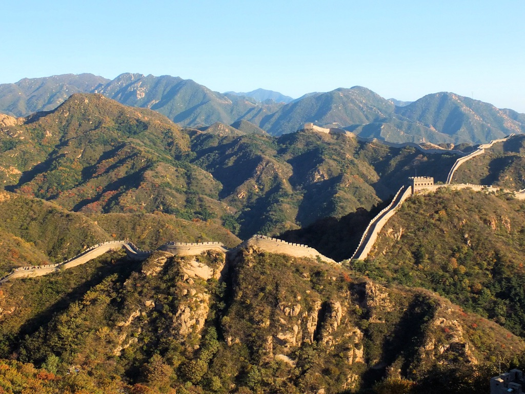 The highest point of the Great Wall of China is on Heita Mountain