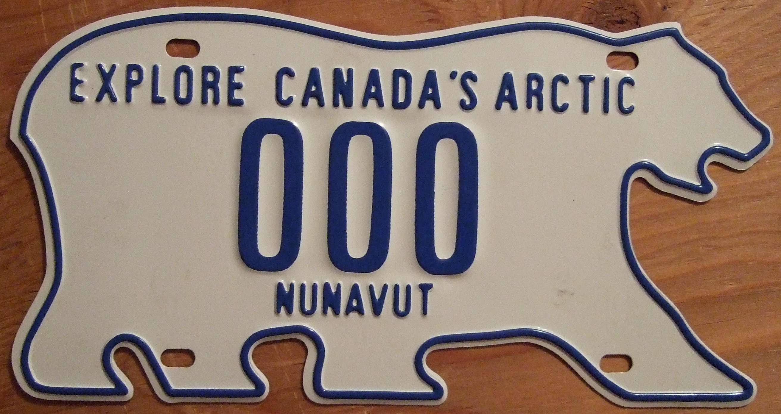Canadian Northwest Territories License plates are shaped like polar bears.