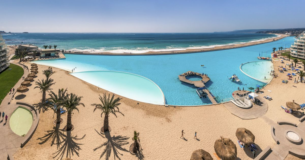 Chile has the world's biggest swimming pool with a length of 1,000 yards and a maximum depth of 115- feet - Serious Facts