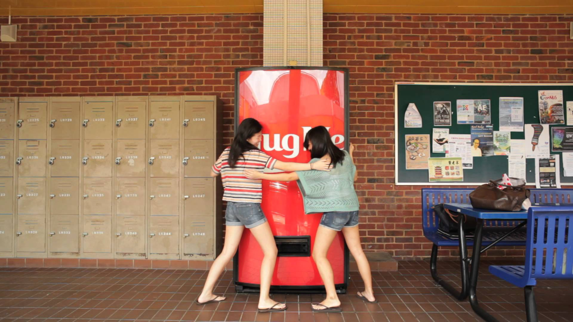 Singapore has Hug Me coca cola machine at the National University of Singapore which gives a bottle of coca cola when somebody wraps his her arms around the machine.