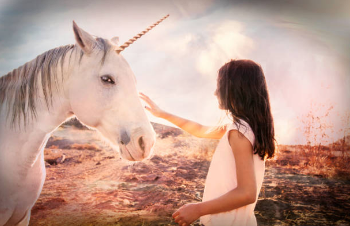 When two unicorn families meet, they express great joy and travel together for weeks.