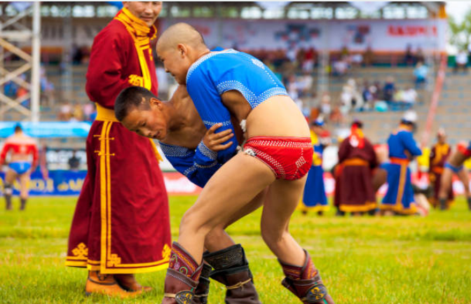 The most popular Mongolian sport is bokh or wrestling.