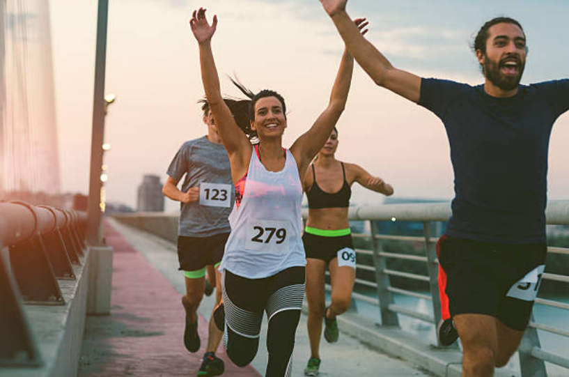 Men run faster than women due to a number of aspects: they have a slightly higher hemoglobin in average and higher levels of sex hormones more muscle mass and bigger lung capacity.
