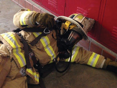 Motion alarms called Personal Alerting Ssafety System (PASS) are attached to the firefighter and sounds an alarm if the firefighter stops moving for more than 30 seconds.