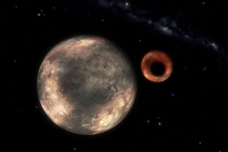 Charon, which is the largest moon of Pluto is nearly half the size of Pluto.