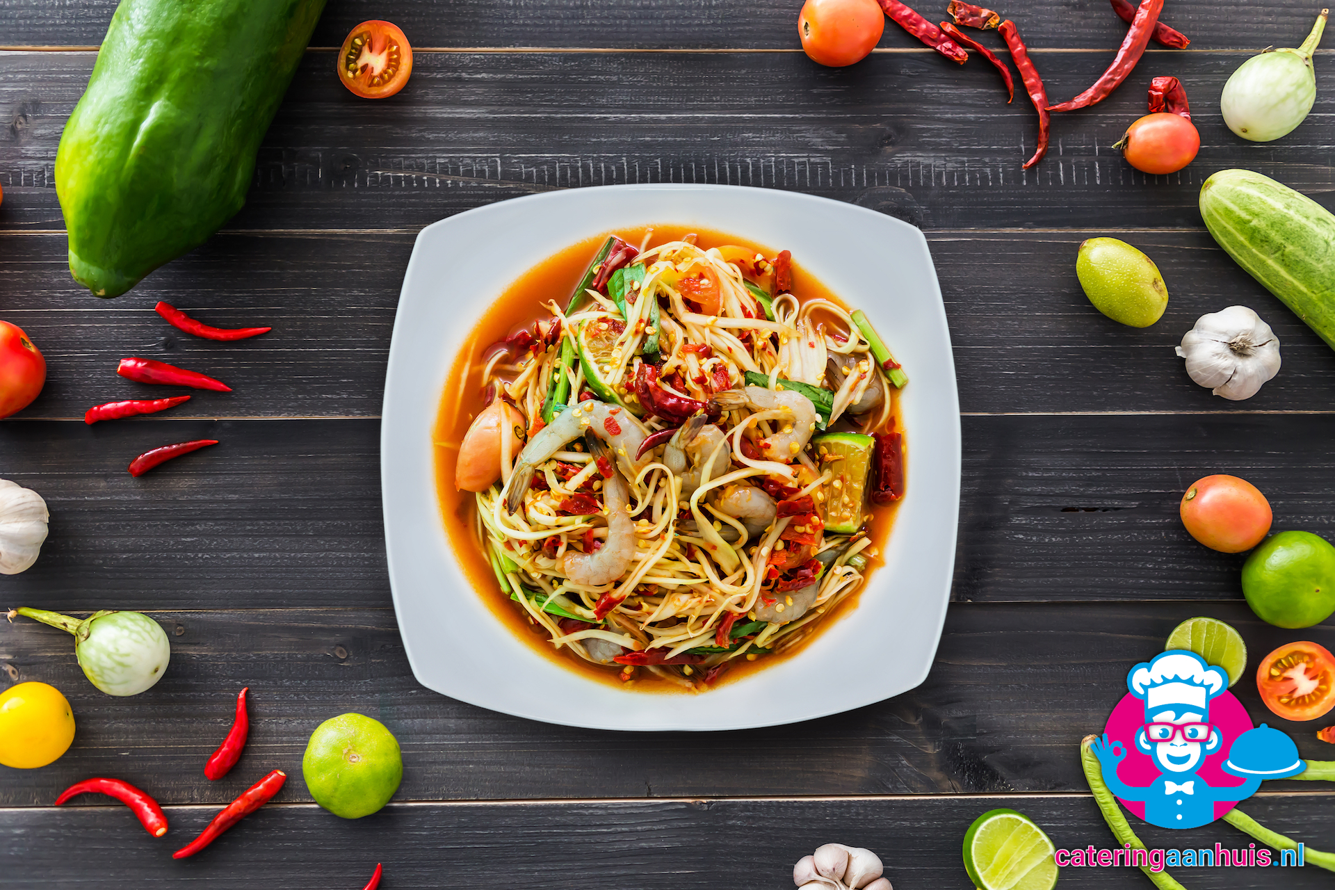 In Thai cuisine, papaya is used to make Thai salads such as som tam.
