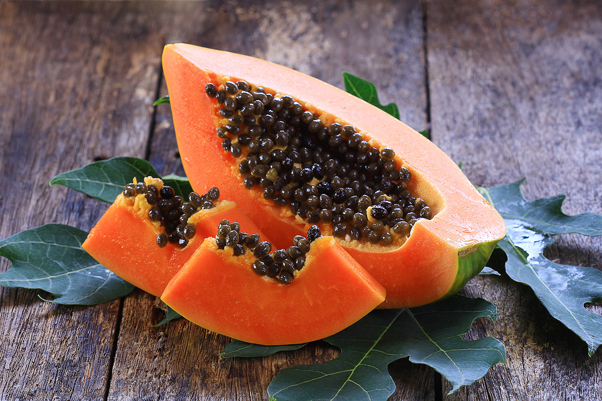 Papaya is the only fruit that contains papain, an enzyme that has the ability to digest protein
