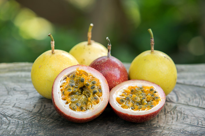 The purple passion fruit, although generally a bit smaller than the yellow.